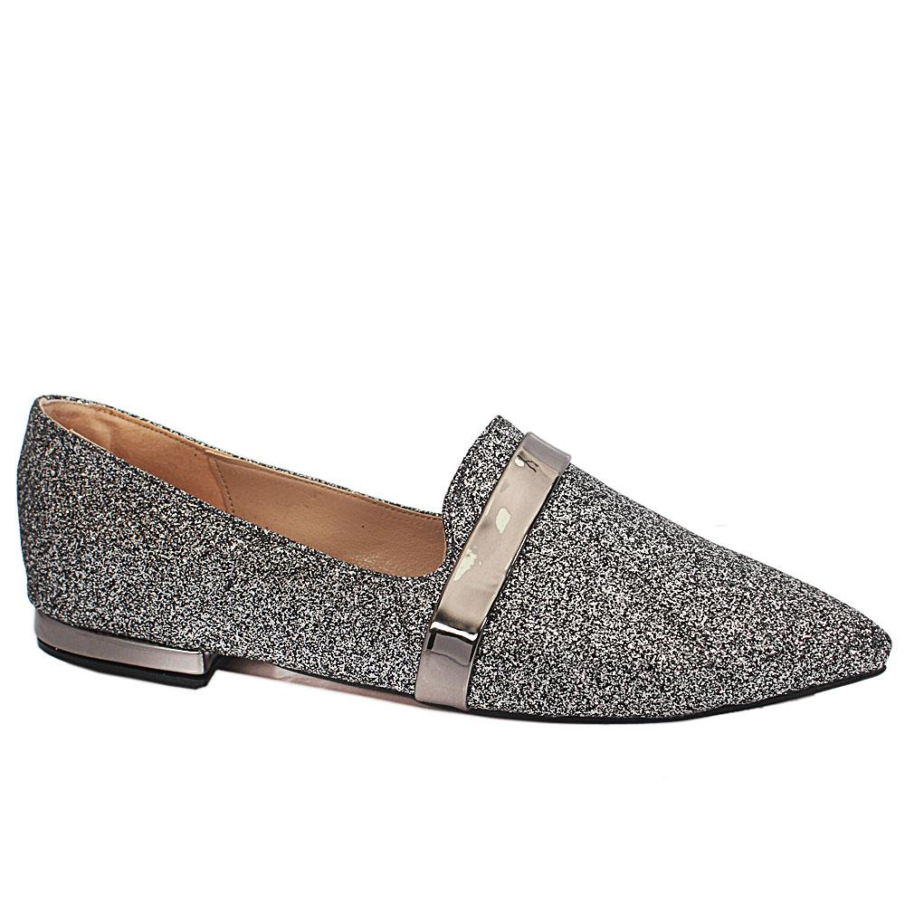 Sz 37 Alba Silver Black Shimmering Leather Pointed Toe Flat Shoes