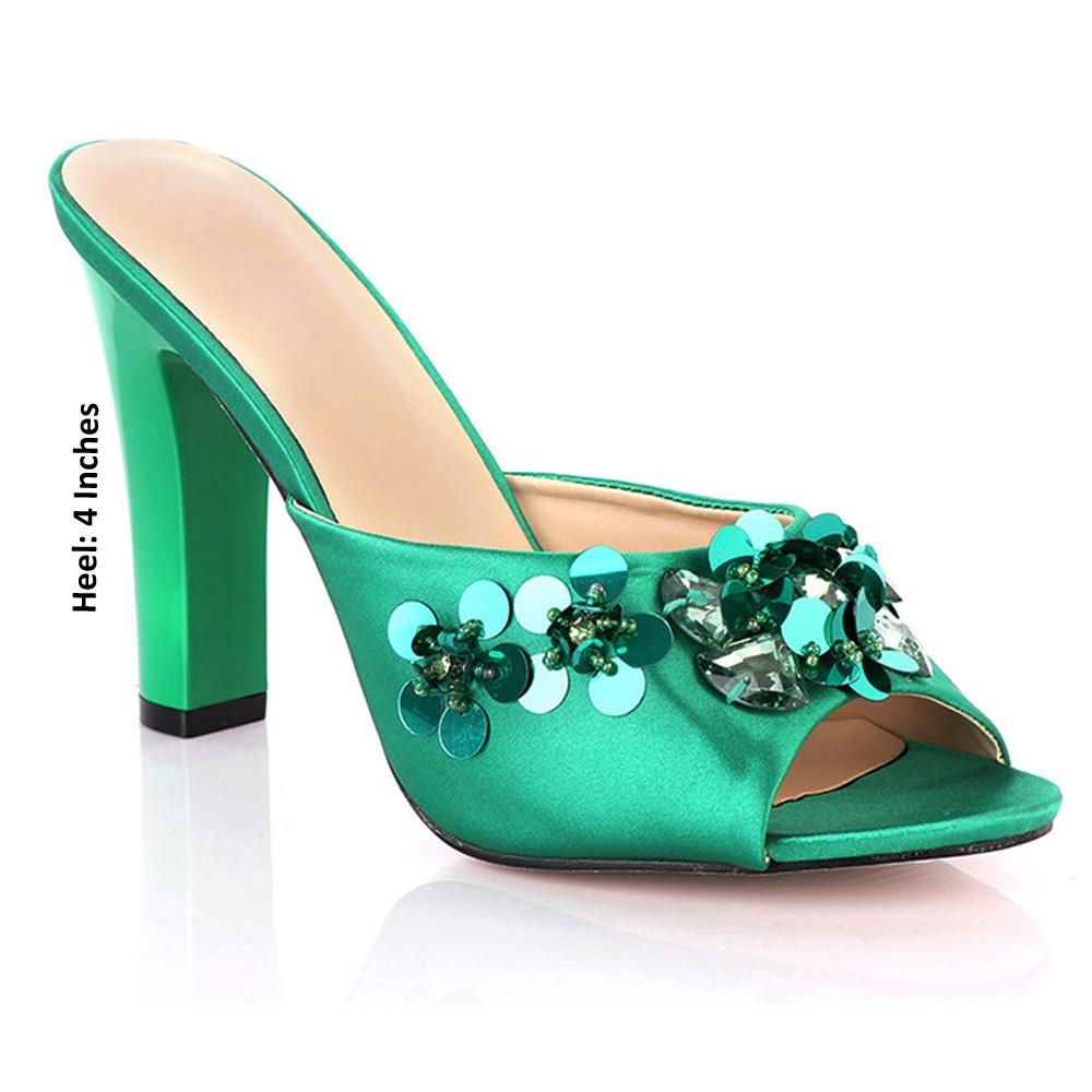 Green Vezzali Studded Leather High Heel Mules