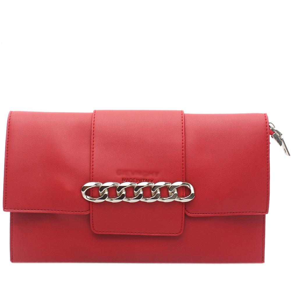 Red Arelia Design Leather Flat Purse