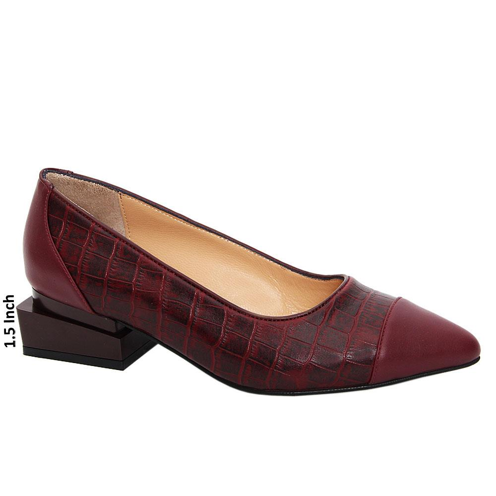 Burgundy Isotta Tuscany Leather Low Heel Pumps