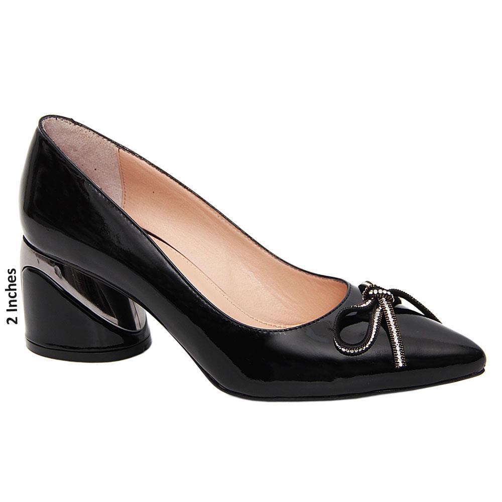 Black Nora Patent Tuscany Leather Mid Heel Pumps