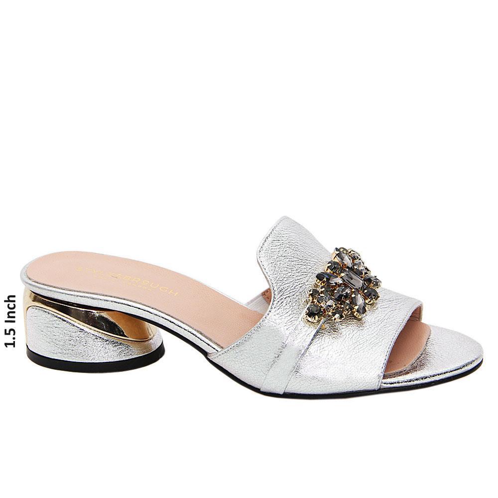 Silver Barbara Tuscany Leather Low Heel Mule