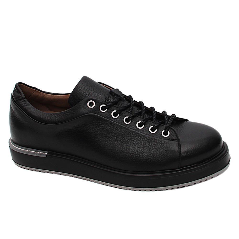 Black Federico Italian Leather Sneakers
