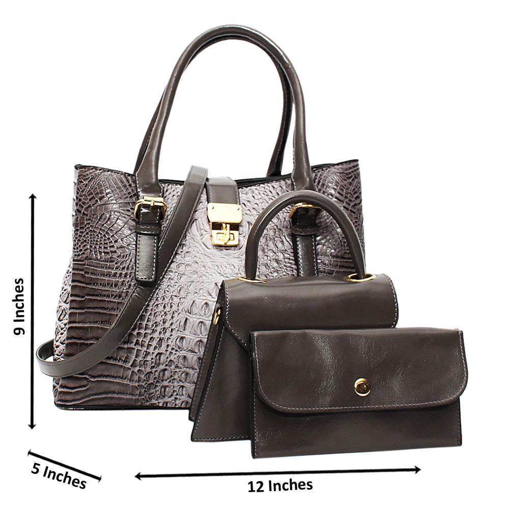 Gray-Venus-Croc-Leather-Medium-3-in-1-Tote-Handbag
