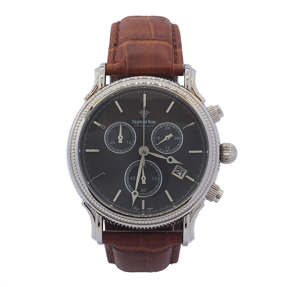DR 10ATM Silver Brown Leather Chronograph Watch
