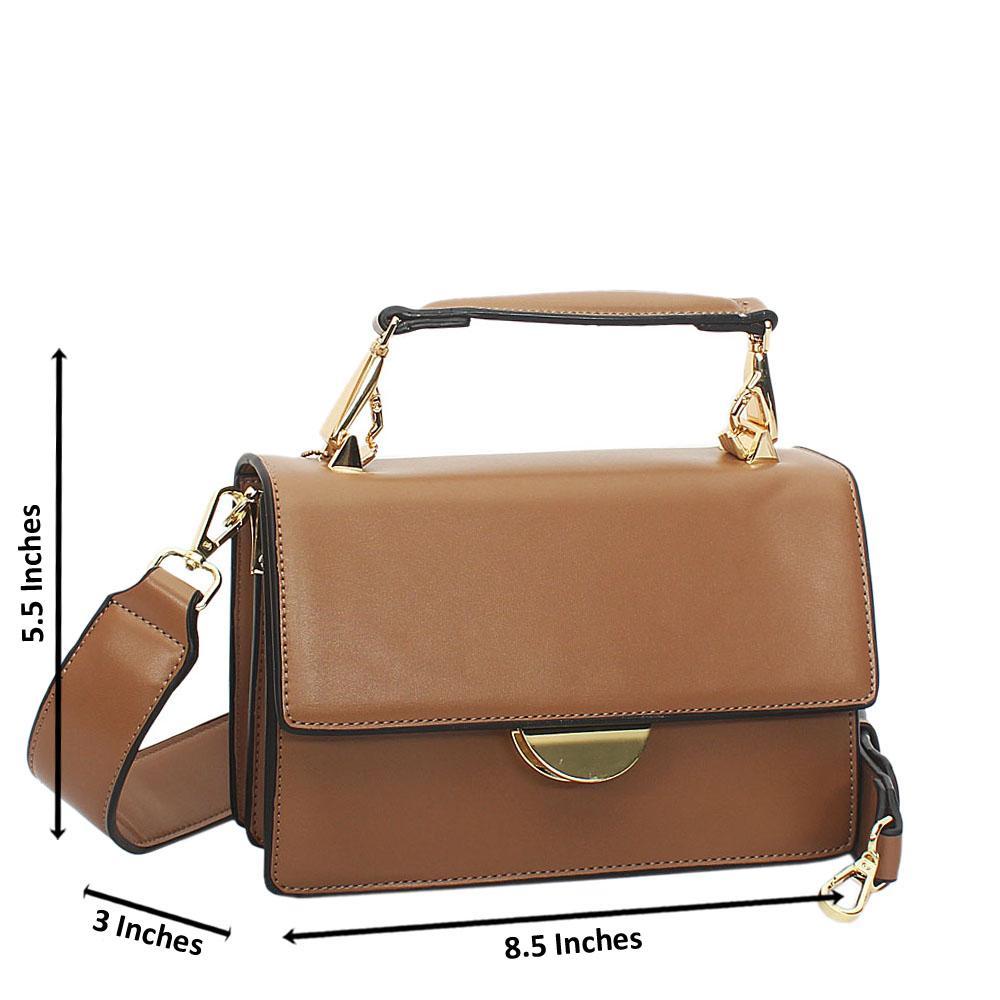 Khaki Leather Handle Crossbody Handbag