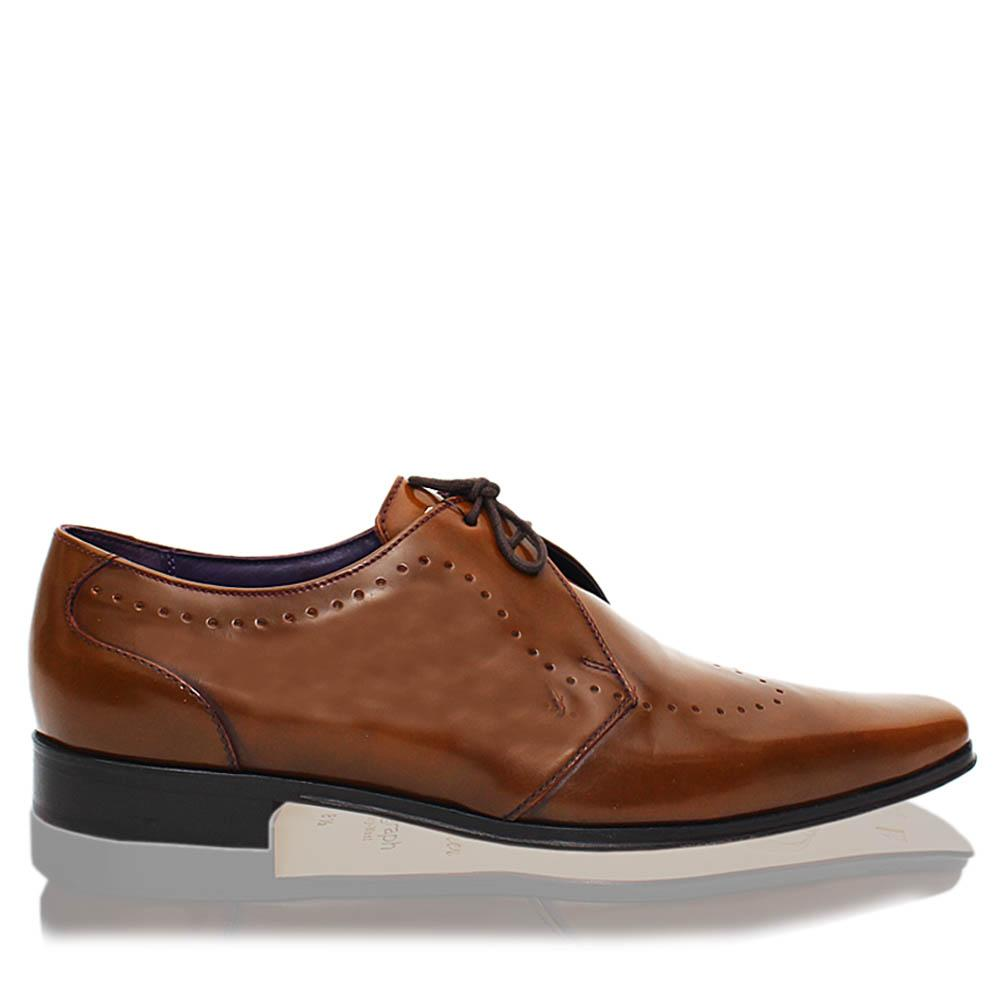 Brown Leather Men Derby Shoes