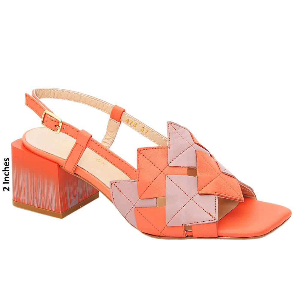 Orange Shelby Tuscany Leather Mid Heel Sandals