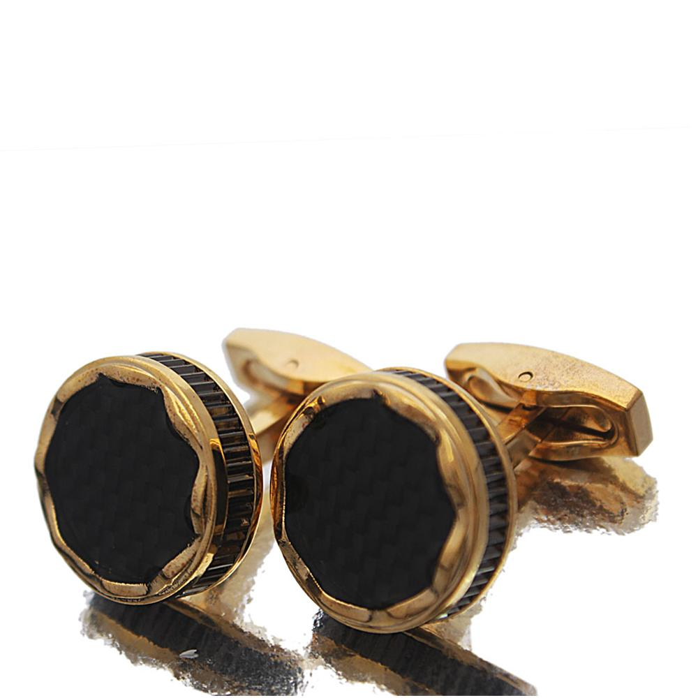 Gold Black Etched Pearl Black Rim Stainless Steel Cufflinks