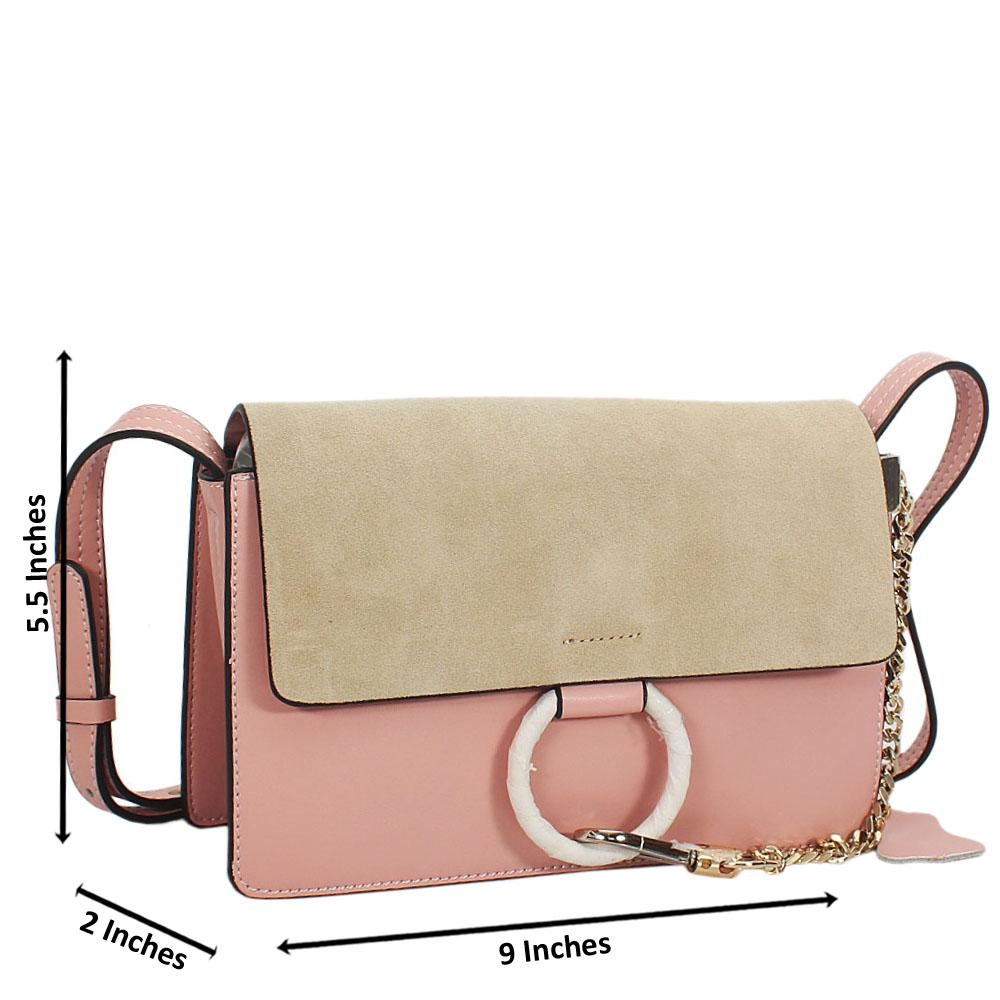 Pink Natale Suede Leather Mini Crossbody Handbag