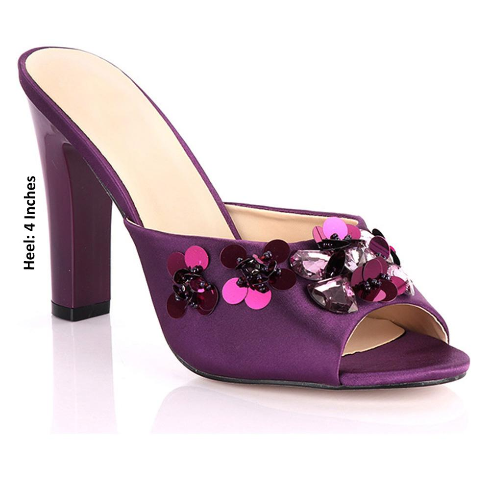Purple Vezzali Studded Leather High Heel Mules