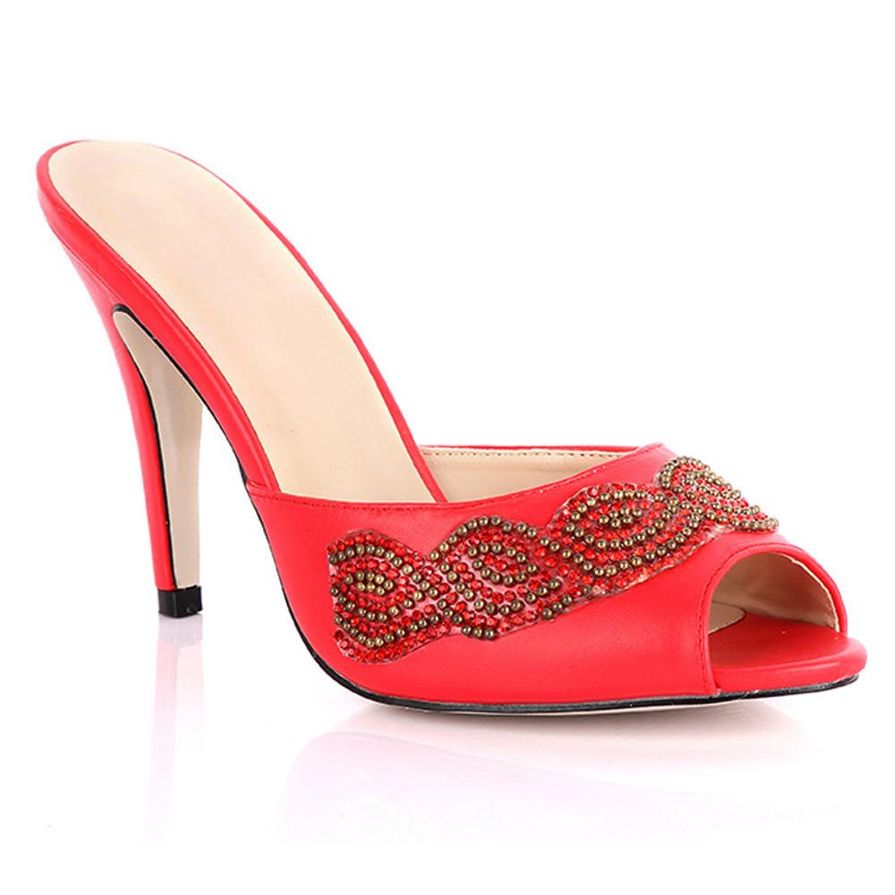 Red Claudia Studded Leather High Heel Slippers