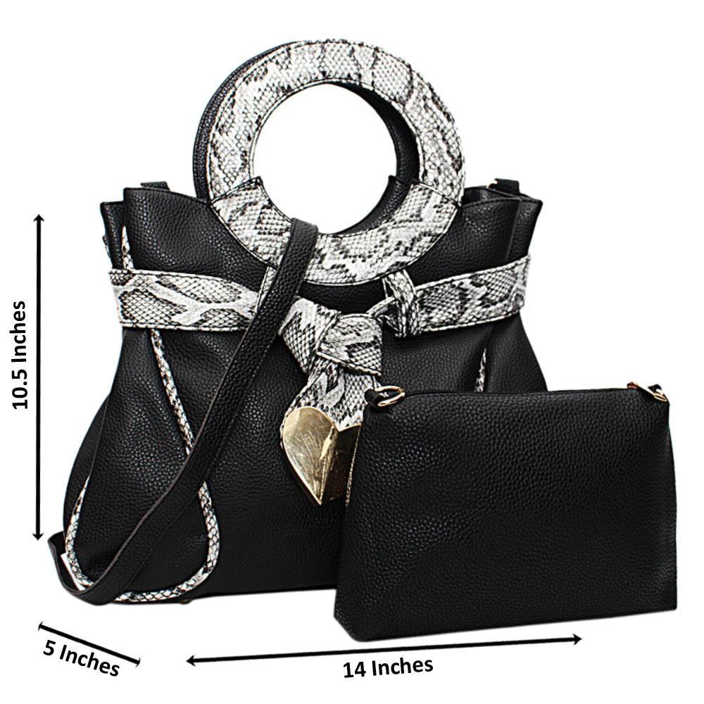 Black Vienna Mix Snake Leather Medium Handbag Wt Purse