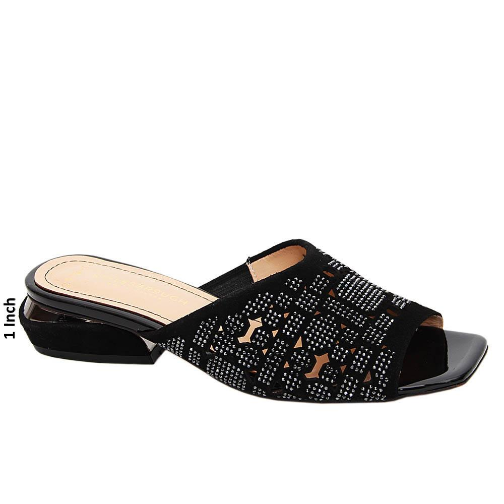 Black Sylvia Studded Suede Tuscany Leather Low Heel Mule