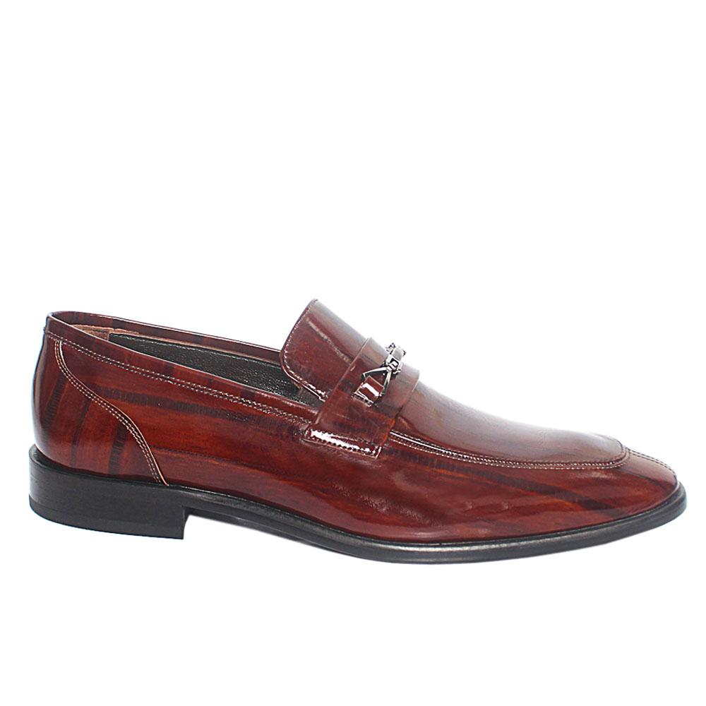 Oxblood Andre Shiny Italian Leather Bit Loafers