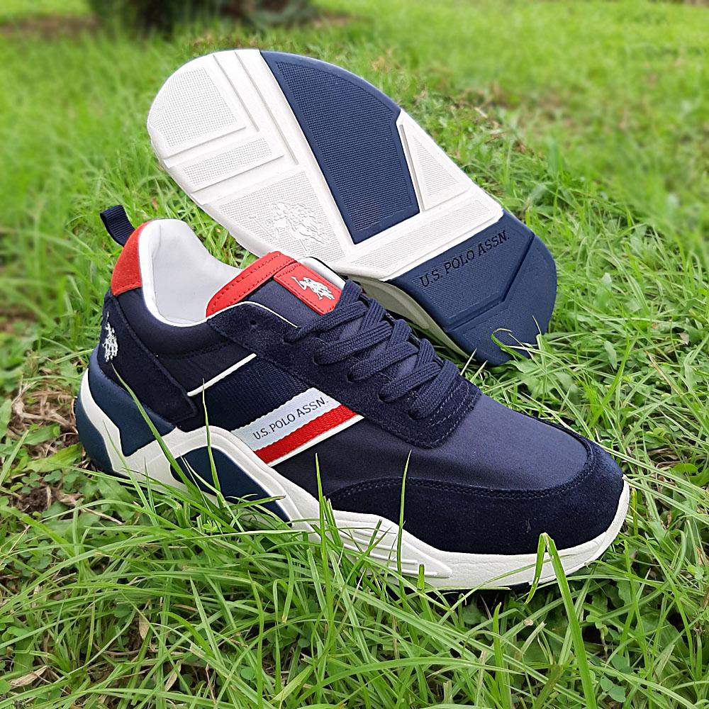 Navy Dave Mix Fabric Suede Leather Sneakers