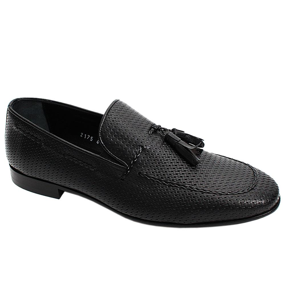 Black Alex Tassel Italian Leather Men Penny Loafers