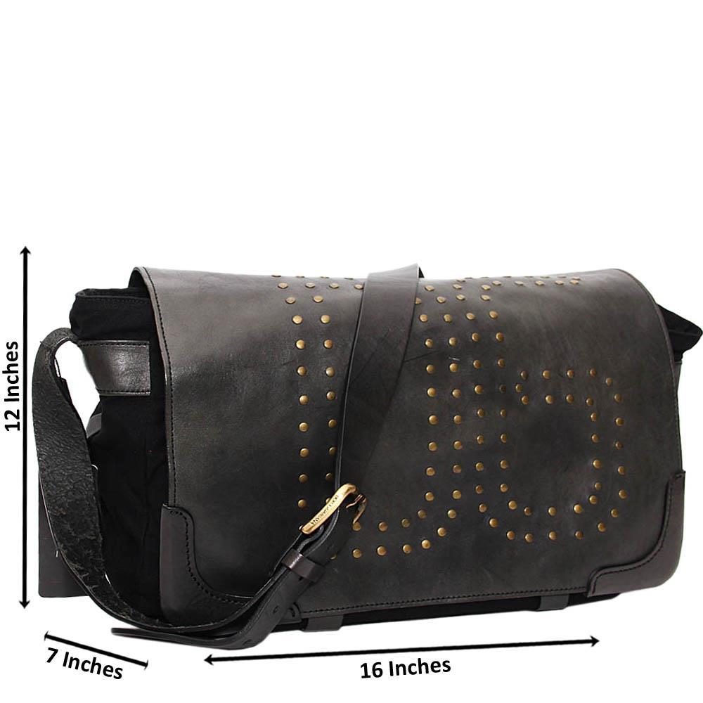 Black George Mix Fabric Leather Messenger Bag