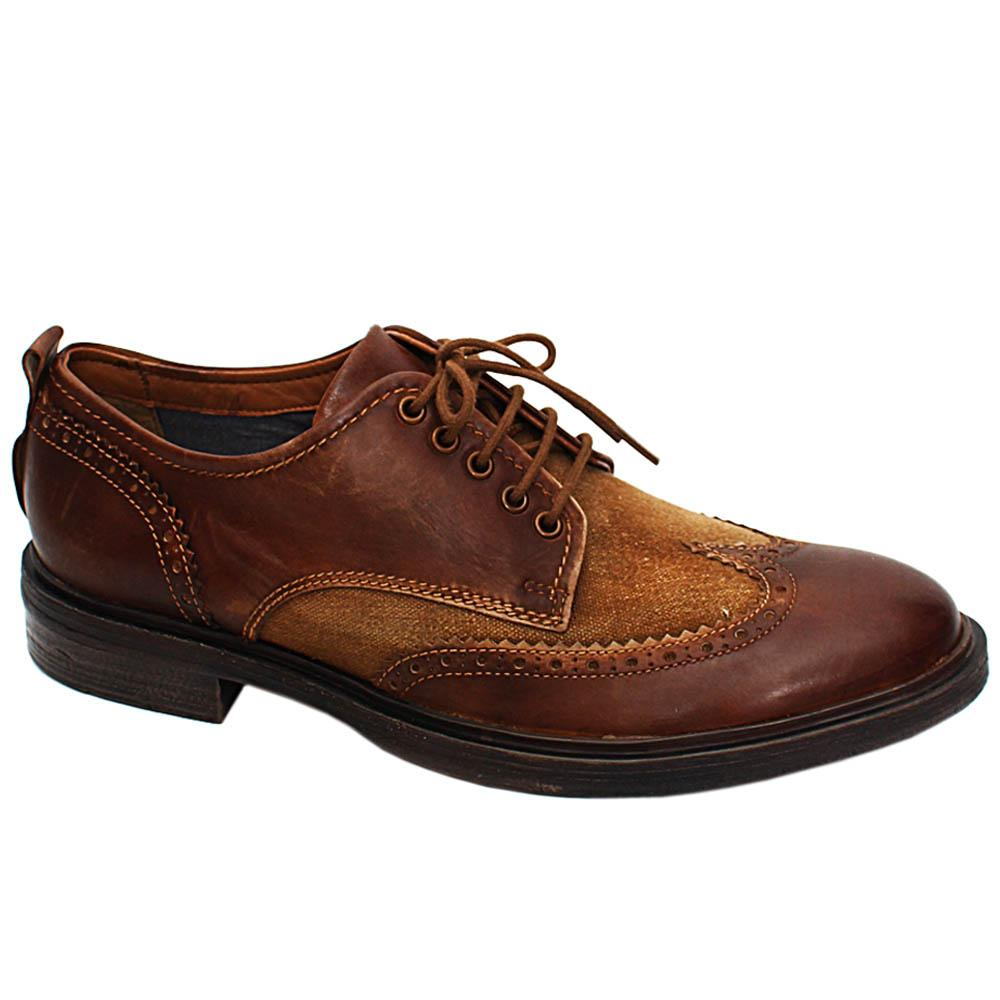 Brown Fabric Leather Men Derby Shoes