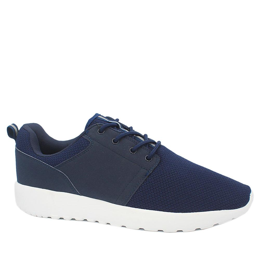 M & S Active Blue White Fabric Leather Men Sneakers Sz 43