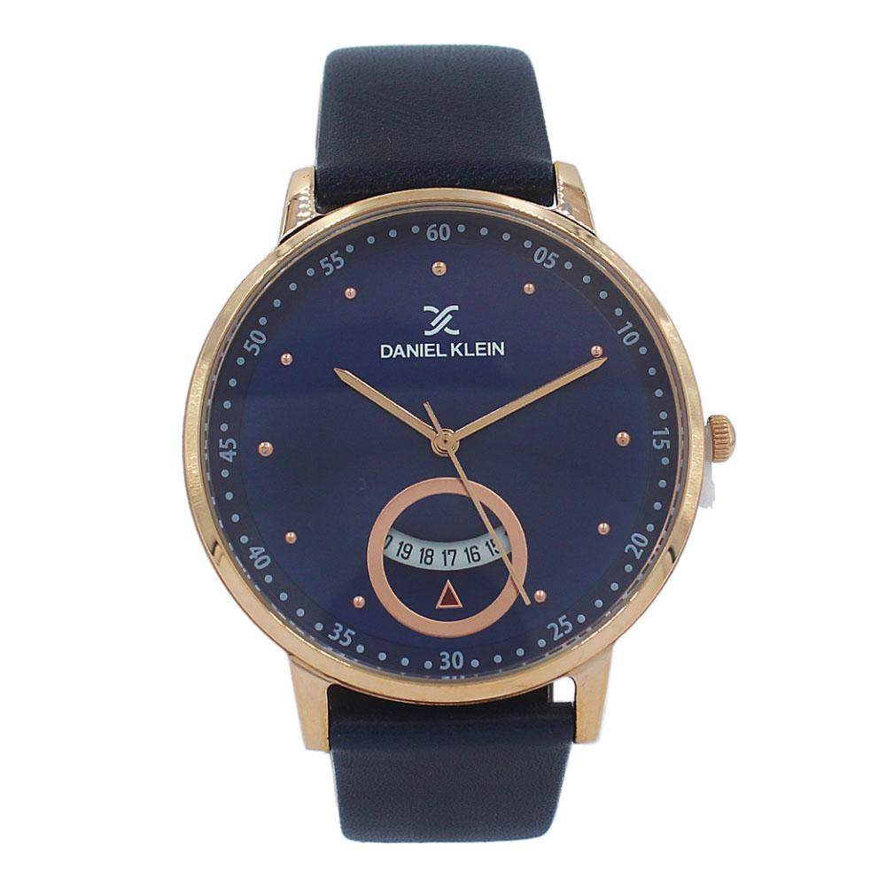Daniel Klein Vintage Rose Gold Navy Leather Flat Watch