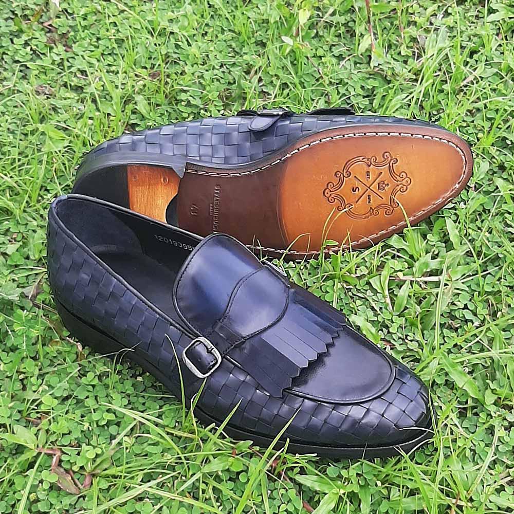 Navy Woven Italian Leather Men Fringe Loafers