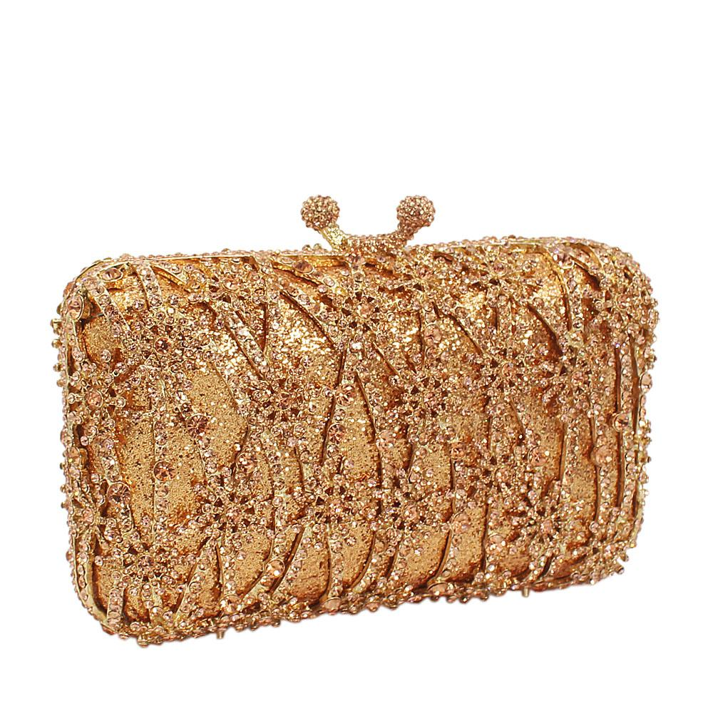 Gold Medal DrapeDiamante Crystal Clutch Purse