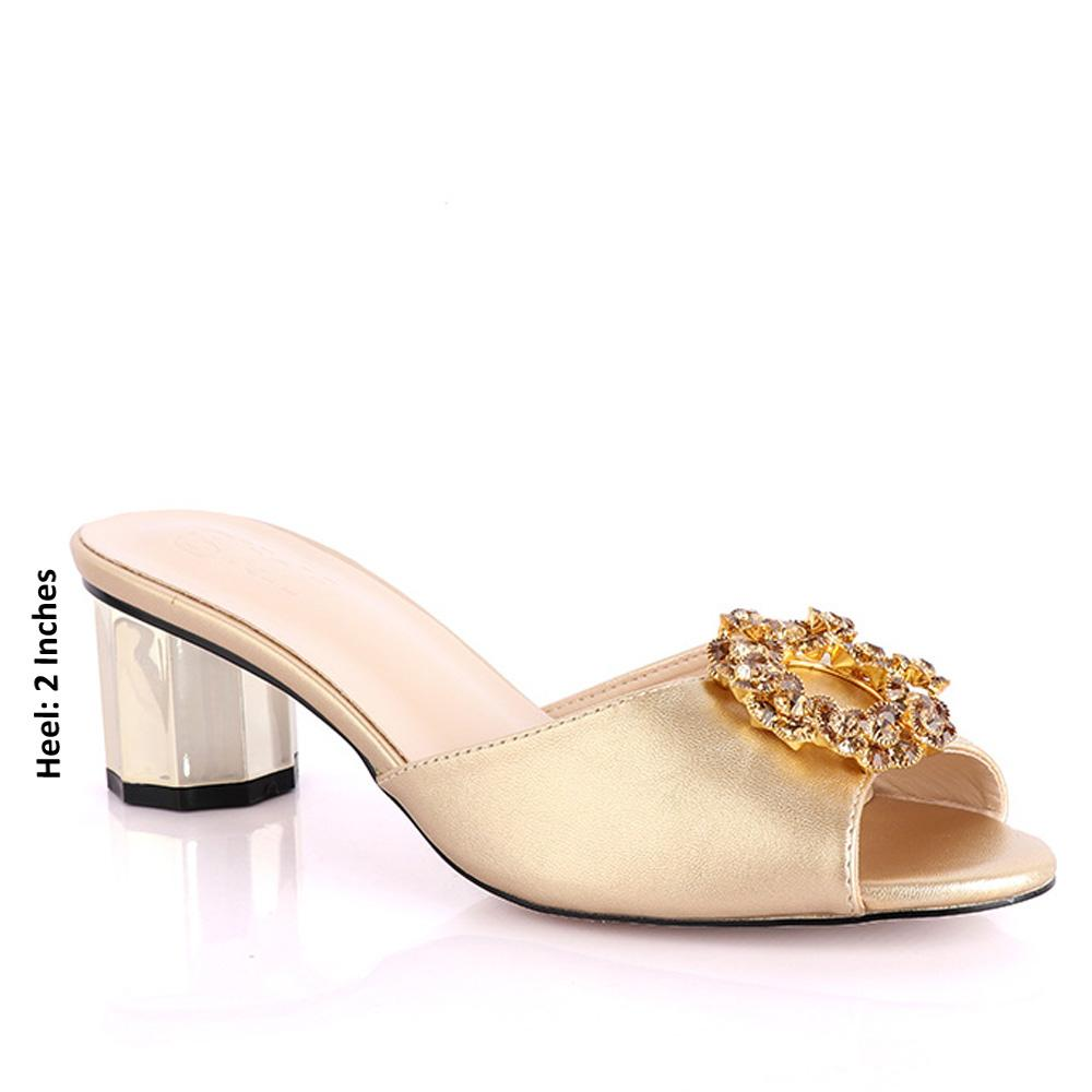 Gold Parietti Studded Leather Low Heel Slippers