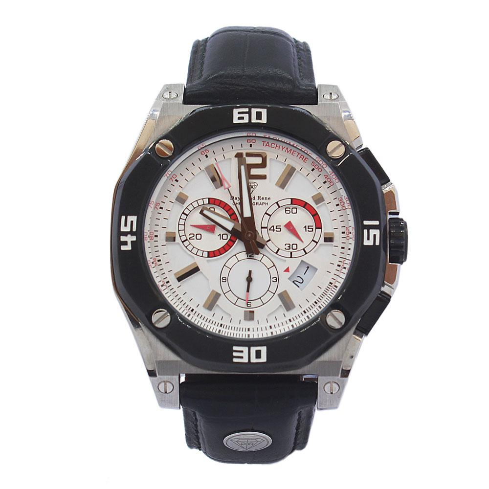 DR 10ATM Silver Black Leather VIP Chronograph Watch