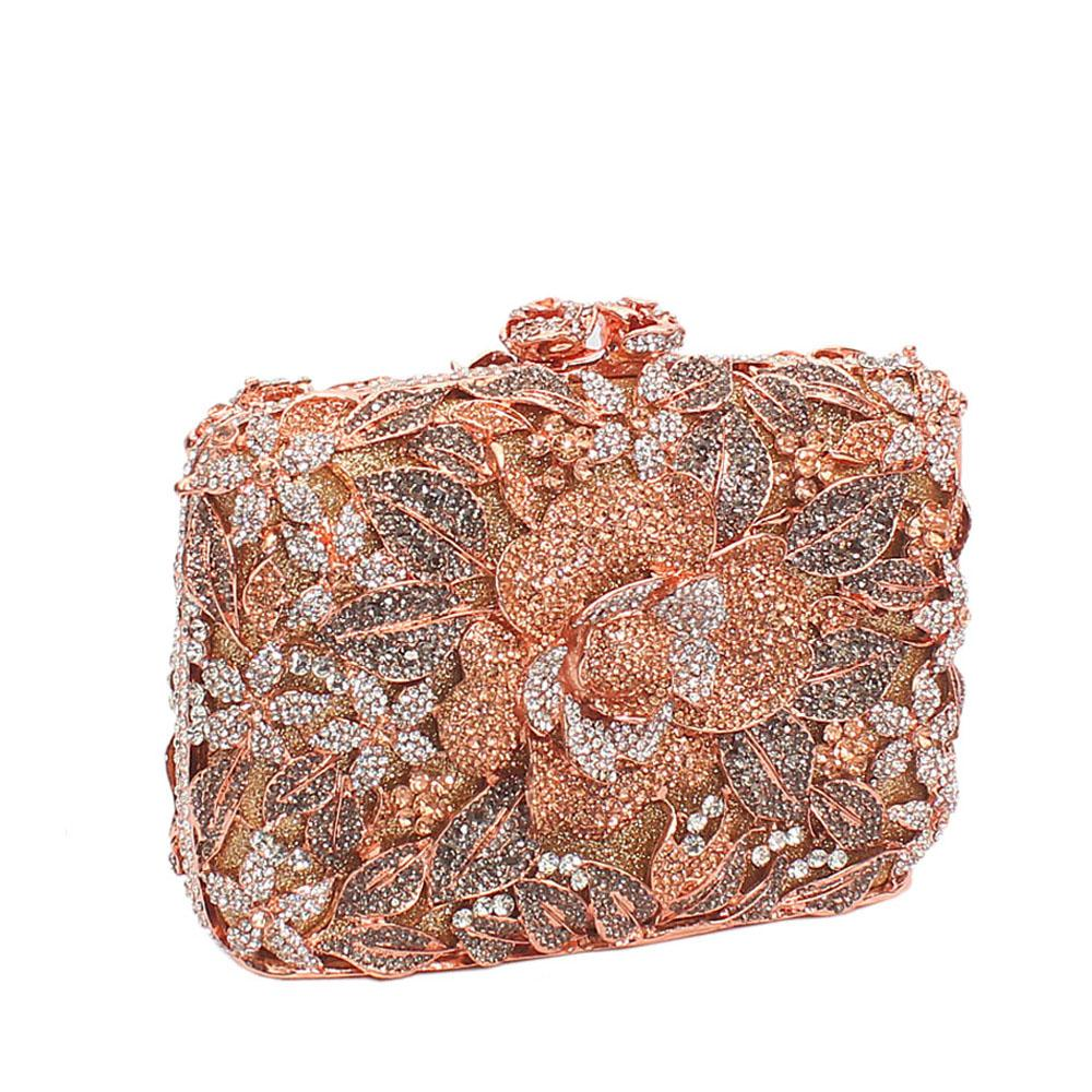 Rose Gold Garden Diamante Crystals Clutch Purse