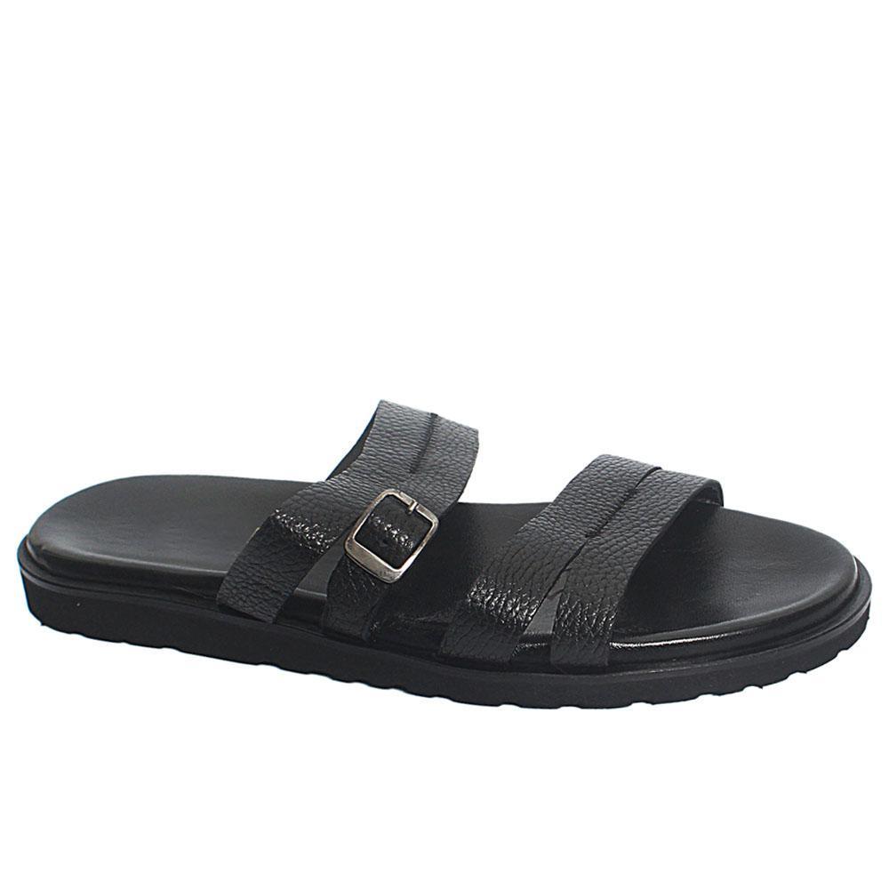 Black Agnolo Leather Men Slippers