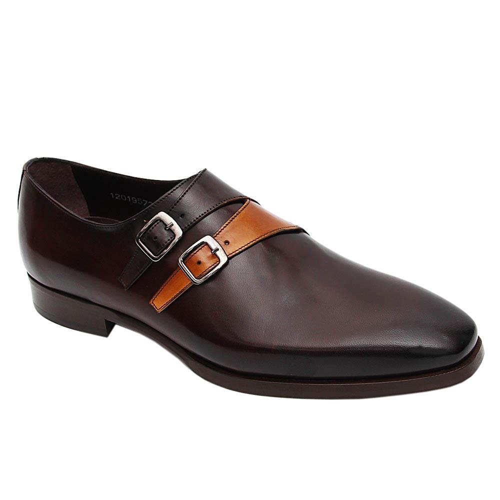 Coffee Paolo Italian Leather Monk Strap Loafers