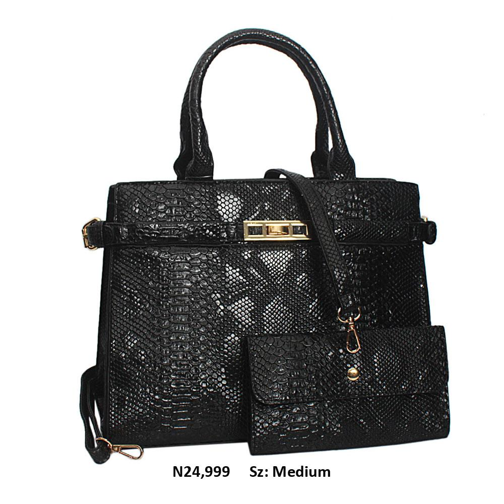 Black Snake Skin Style Leather Tote Handbag