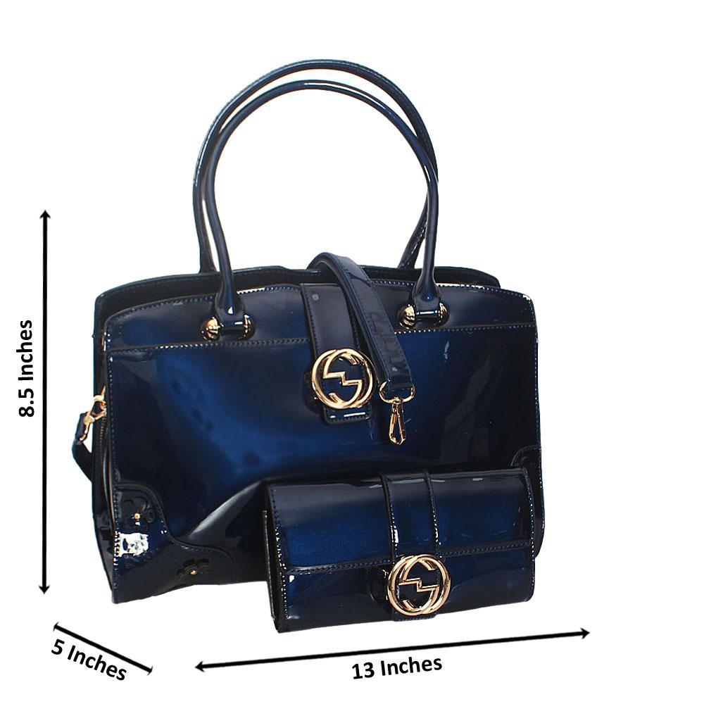 Cece Blue Patent Leather Tote Handbag Wt Purse