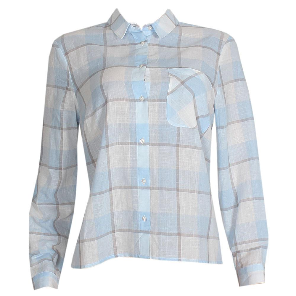 M & S Blue White Check L-Sleeve Ladies Shirt UK 16
