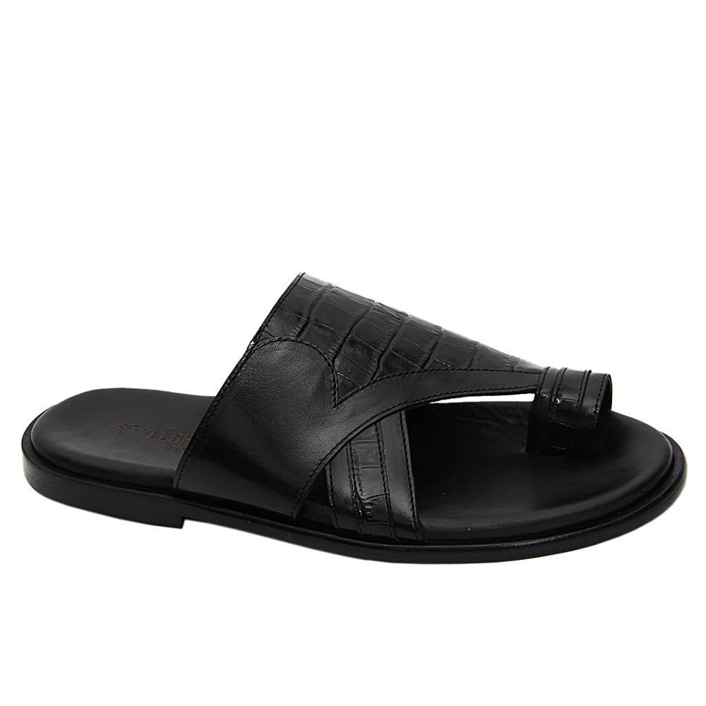 Black Shawnel Italian Leather Toe Loop Slippers