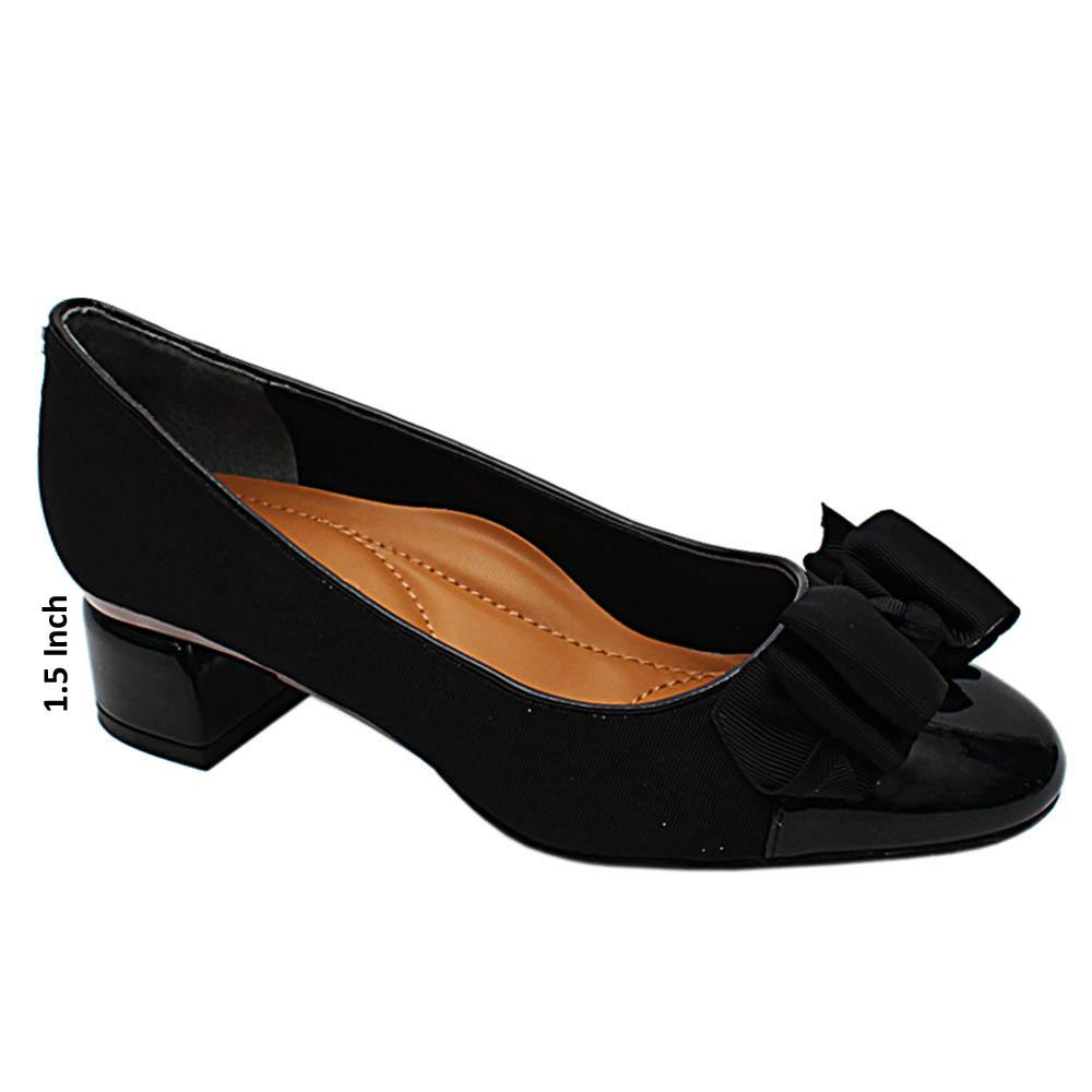 Black Berkley Fabric Leather Low Heel Pumps