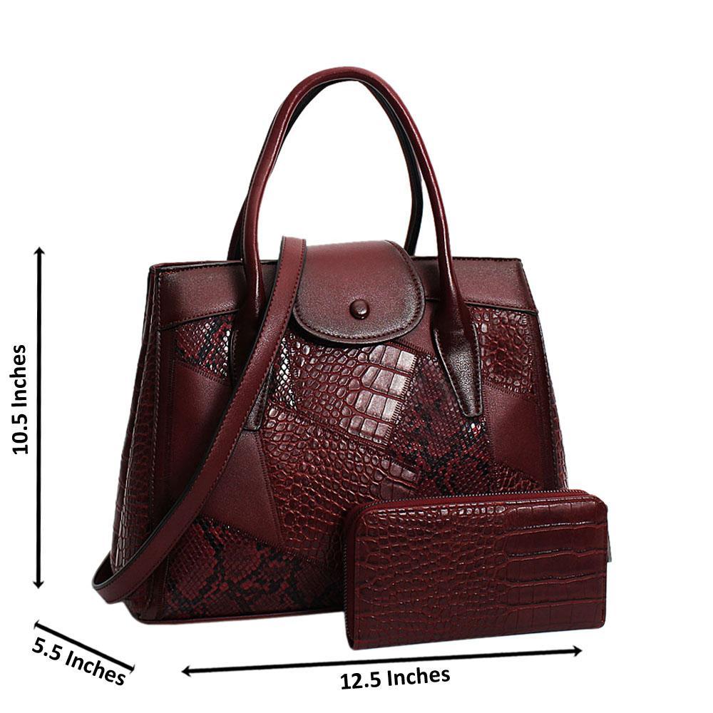Burgundy Chiara Mix Croc Snake Leather Medium Tote Handbag