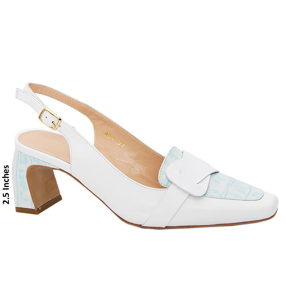 White Melissa Tuscany Leather Mid Heel Slingback Pump