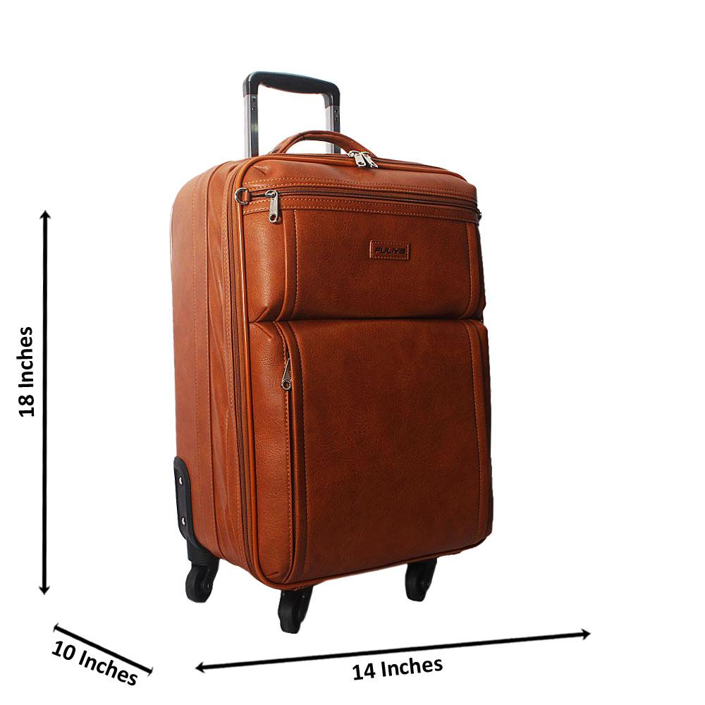 Brown 18 Inch Leather Carry On Luggage