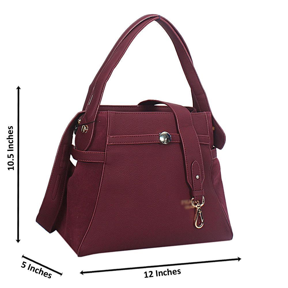 Wine Allegra Leather Tote Handbag