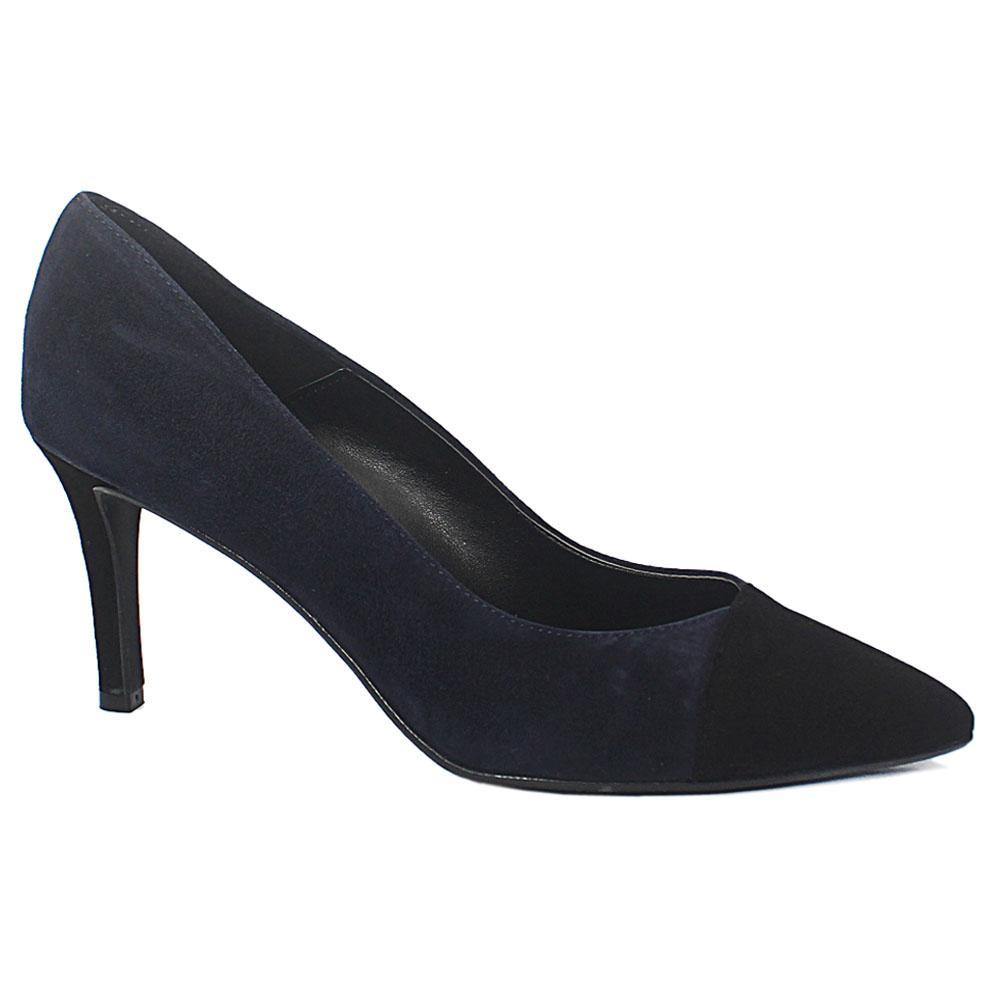 Navy Black Pietra Suede Leather Heel Shoes