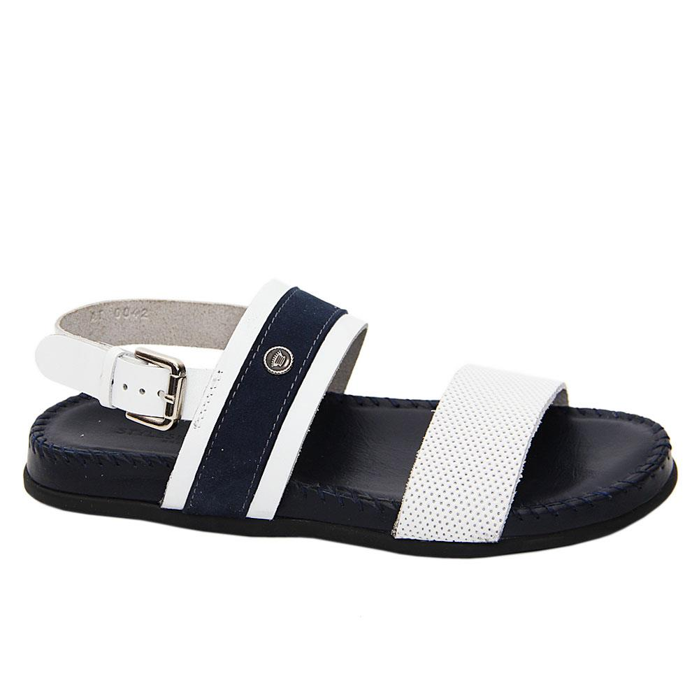 White Navy Gibbs Italian Leather Comfort Sole Sandals
