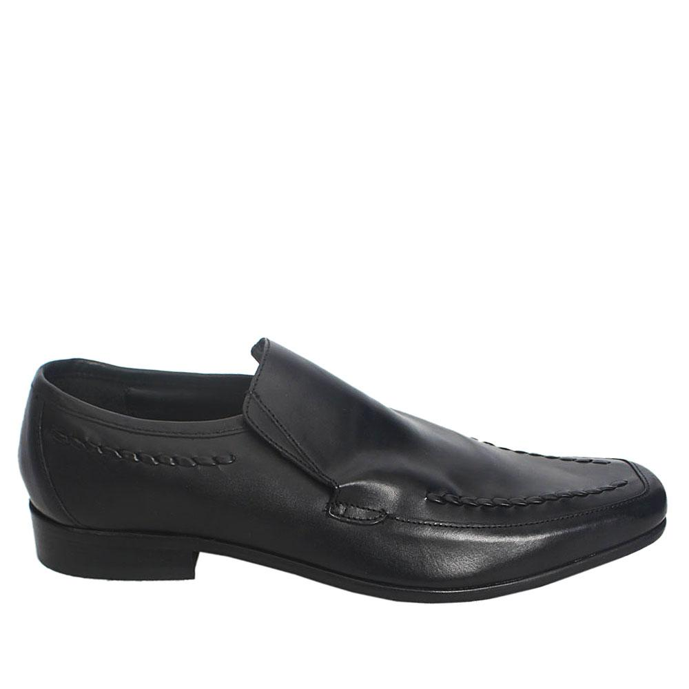 Sz 43 M & S Man Black Woven Leather Men Shoe