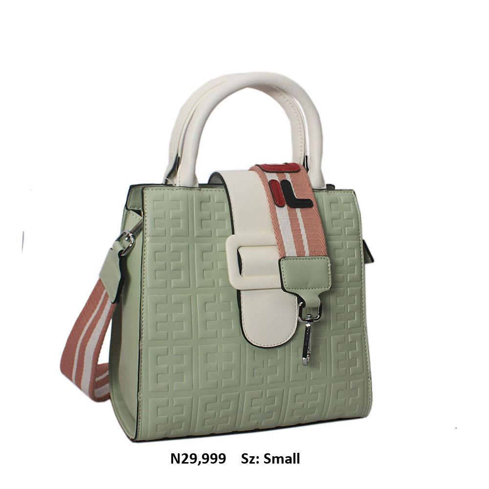 White Light Green Embossed Leather Small Tote Handbag