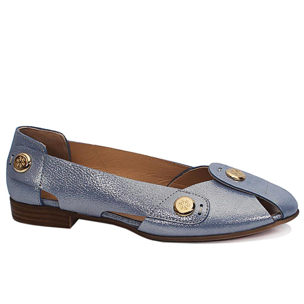 Blue BonBon Leather Flat Shoe