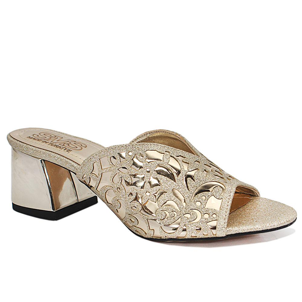Maite Gold Floral Shimmering Leather Low Heel Ladies Slippers