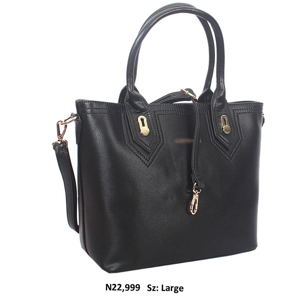 Black Joaquina Leather Tote Handbag