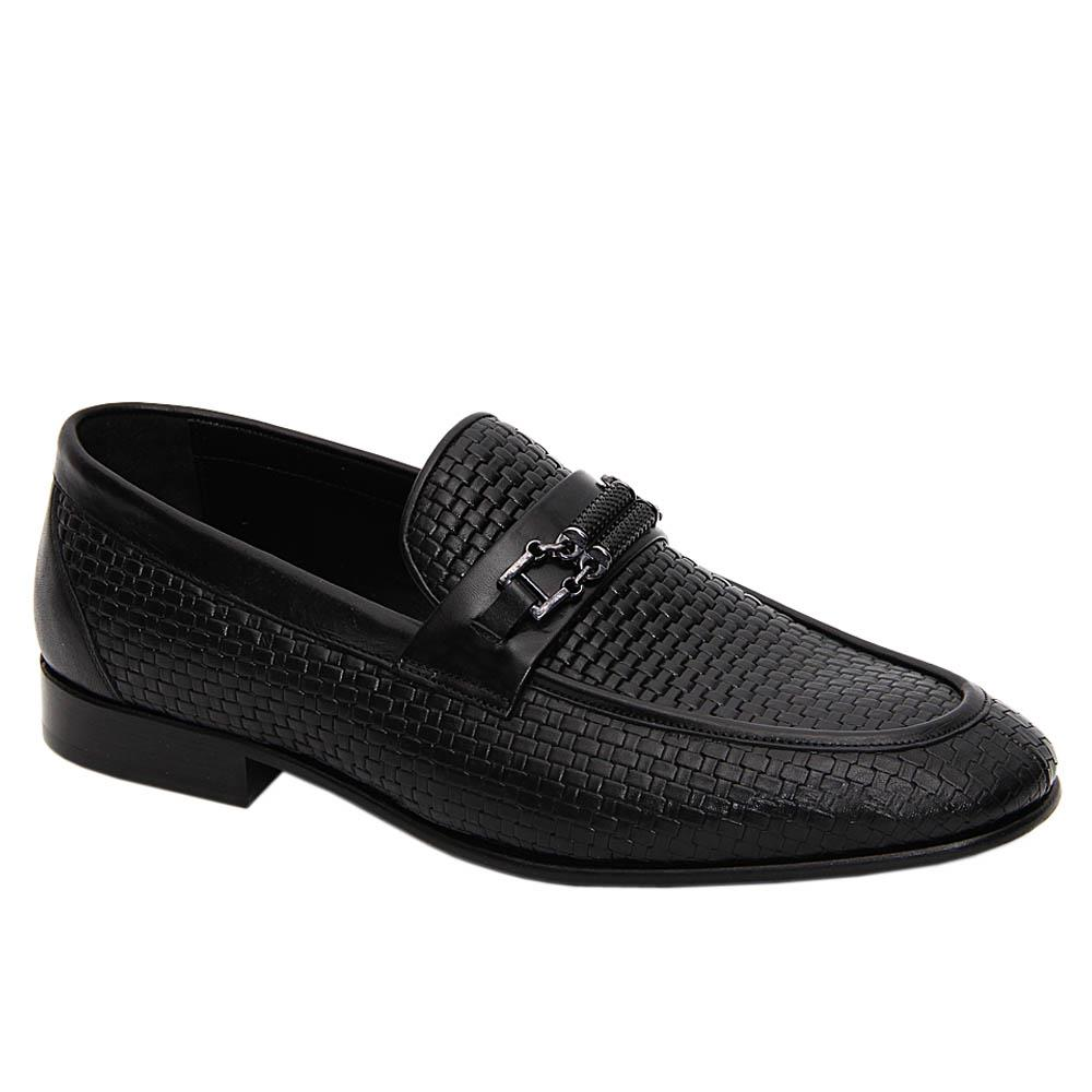 Black Andre Woven Styled Italian Leather Loafers