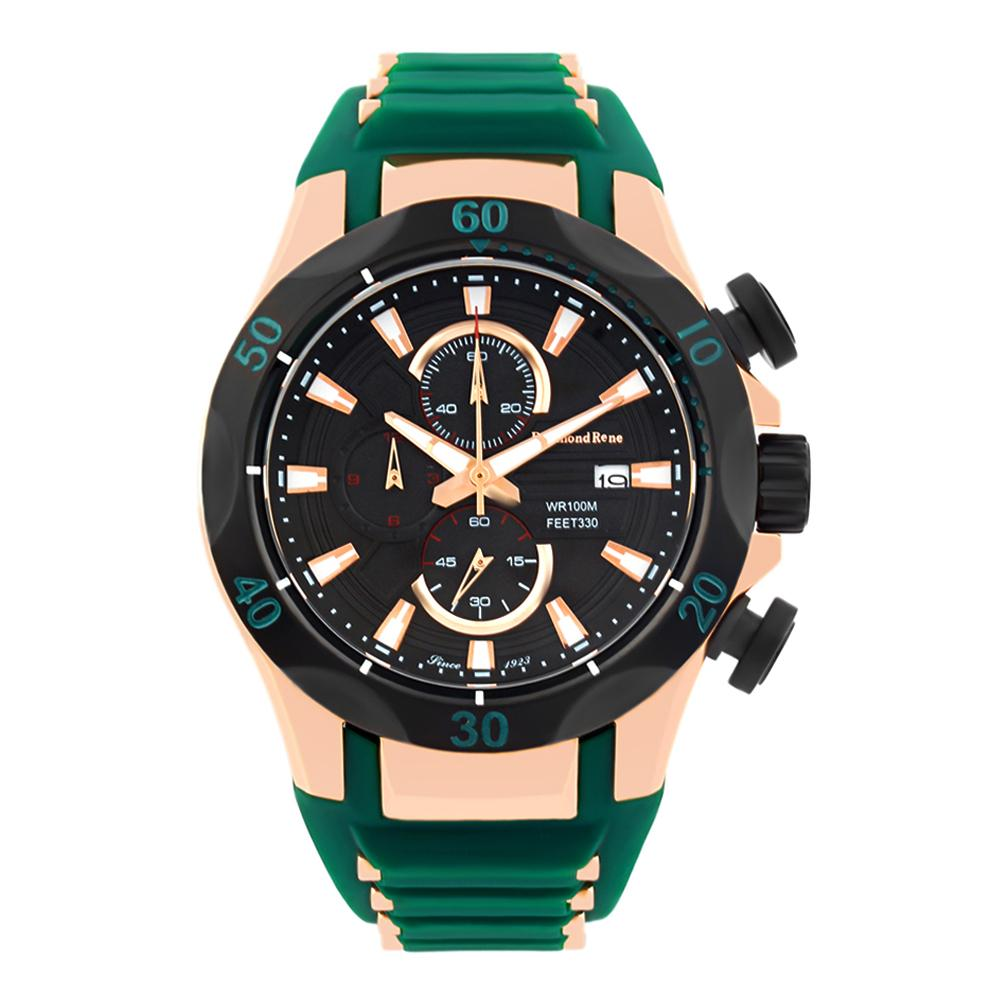 Green Black Rubber Chronograph Watch